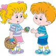 Girl and boy on Easter Day — Stock Vector #39857601