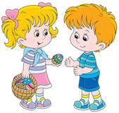 Girl and boy on Easter Day — Stock Vector