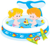Children in a kids pool — Stock Vector