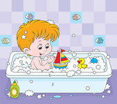 Boy bathing — Stock Vector