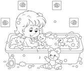 Girl bathing — Stock Vector