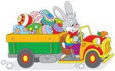 Bunny carries Ester eggs — Stock Vector