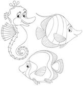 Coral fishes and seahorse — Stock Vector