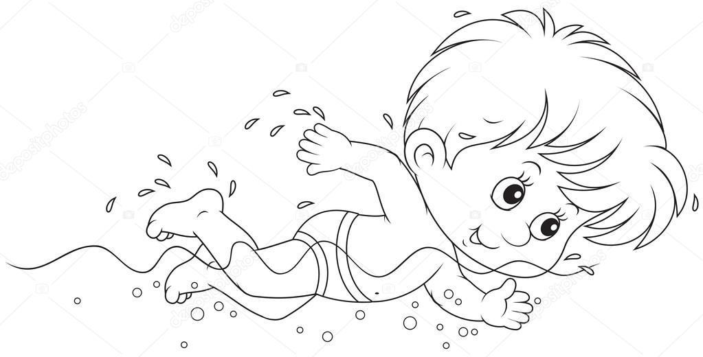 Раскраски дети плавание