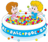 Children play in a ball pool — Stock Vector
