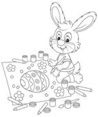 Little Bunny draws an Easter card — Vector de stock