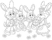 Bunnies with an Easter cake — Stock Vector