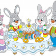 Stock Vector: Easter bunnies at festive table