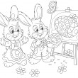 Stock Vector: Easter Bunnies painters