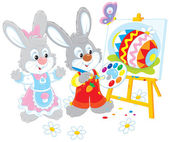 Easter Bunnies painters — Stock Vector