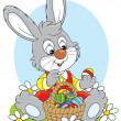 Stock Vector: Easter Bunny with basket of eggs