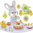 Stock Vector: Bunny cooks holiday cake to Easter