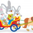Stock Vector: Easter bunnies riding pony carriage