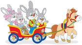 Easter bunnies riding a pony — Stock Vector