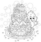 Little Chick with a cake — Stock Vector