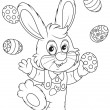 Stock Vector: Easter Bunny juggler