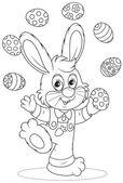 Easter Bunny juggler — Stock Vector