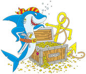 Pirate shark with a treasure chest — Stock Vector