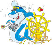Shark captain — Stock Vector