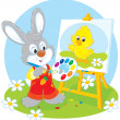 Stock Vector: Easter Bunny painter