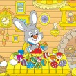 Stock Vector: Little Bunny paints Easter eggs