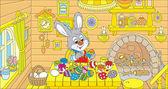 Little Bunny paints Easter eggs — Stock Vector