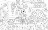 Küçük bunny paskalya yumurtaları boyar — Stok Vektör