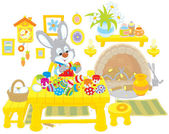 Bunny paints Easter eggs — Stock Vector