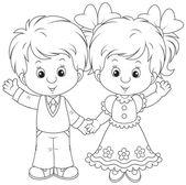 Little boy and girl waving — Stock Vector