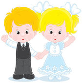 Little boy and girl — Stock Vector