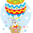 Easter Bunny in a balloon — Stock Vector