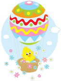 Easter Chick flying in a balloon — Stock Vector