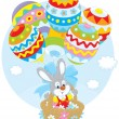 Easter Bunny flies with balloons — Stock Vector #43147567