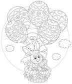Paskalya tavşanı balonlarla uçar — Stok Vektör