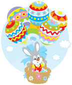 Easter Bunny flies with balloons — Vector de stock