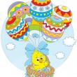 ������, ������: Easter Chick flies with balloons