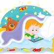 Boy playing on a tablet — Stock Vector