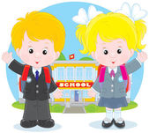Schoolchildren before a school — Stock Vector