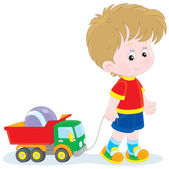 Boy walking with toys — Stock Vector