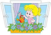Girl watering flowers — Stock Vector
