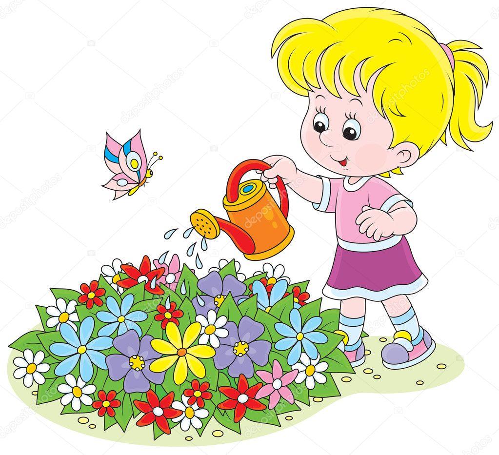 Дети поливают цветы в детском саду