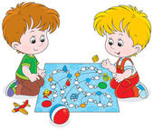 Boys playing with a boardgame — Stock Vector