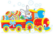Easter Bunny on a train — Stock Vector