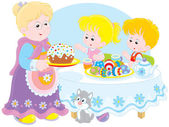 Granny and grandchildren celebrate Easter — Stock Vector