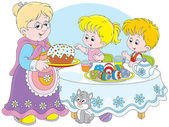 Granny and grandchildren celebrate Easter — Vector de stock