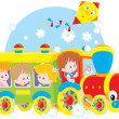 Children travel by train — Stock Vector #44181335