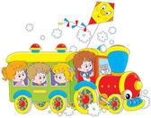 Children travel by train — Stock Vector
