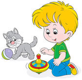 Boy plays with a whirligig and kitten — Stock Vector