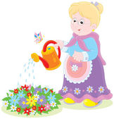 Granny watering flowers — Stock Vector