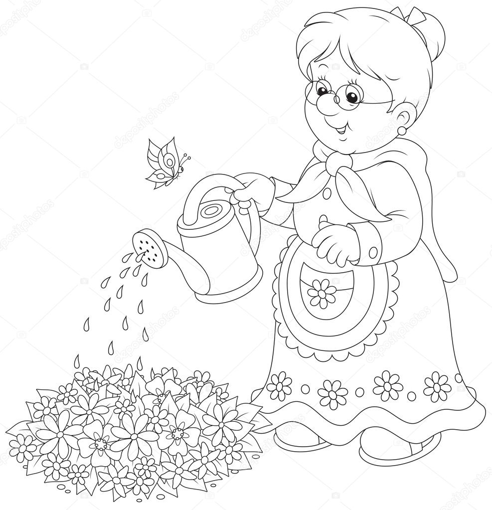 Раскраска бабушка - 7